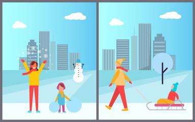 Family Winter Activities City Vector Illustration