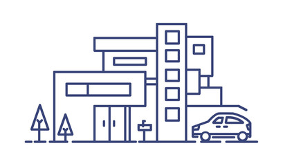 Fototapete - Living house built in contemporary architectural style and automobile parked beside it drawn with blue lines on white background. Residential property or real estate. Monochrome vector illustration.