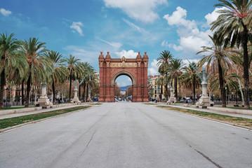 Arc de Triomf in Barcelona under blue sky
