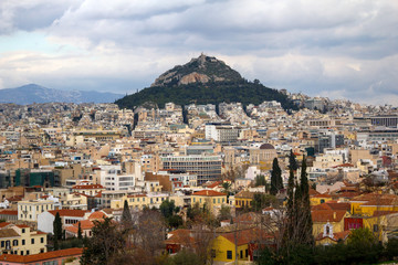 Greece, Athens city partial view with Lycabettus hill in the background.
