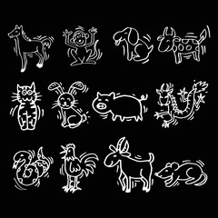 12 Animals of Chinese Calendar. Cartoon style.