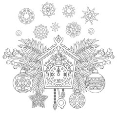 Christmas coloring page. Holiday hanging decorations and fir tree branches around wall cuckoo clock. Freehand sketch drawing for 2018 Happy New Year greeting card or adult antistress coloring book.