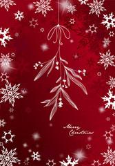 Handwritten Christmas illustration with hanging mistletoe - red version