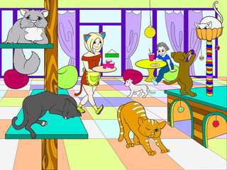 Beautiful interior of modern cat cafe for people cartoon vector illustration
