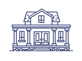 Fototapete - Two-story residential house with porch and columns built in classic architectural style. Elegant building drawn with blue contour lines on white background. Vector illustration in lineart style.