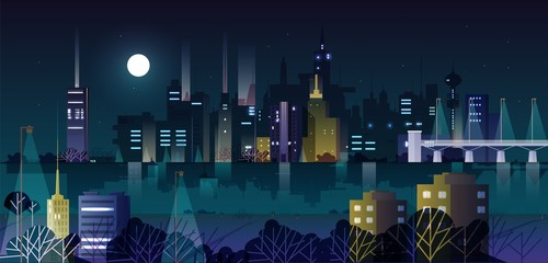 Urban landscape or cityscape with modern buildings and skyscrapers illuminated by street lights at night. City skyline against dark sky with Moon and stars on background. Vector illustration.