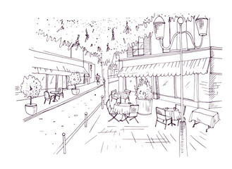 Fototapete - Freehand sketch of European outdoor cafe or coffeehouse with tables covered by tablecloths and chairs standing on city street hand drawn with contour lines on white background. Vector illustration.