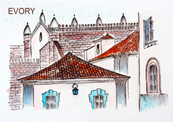 Watercolor drawing of the ancient city of Evora in Portugal. City sketch.