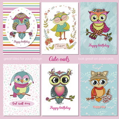 Set of 6 lovely postcards with cute owls.