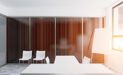 Conference room with wooden table. 3D rendering. Sunset