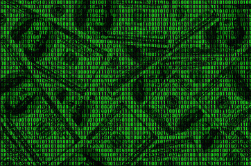 Image of binary code from bright green numbers, through which you can see a lot of dollars