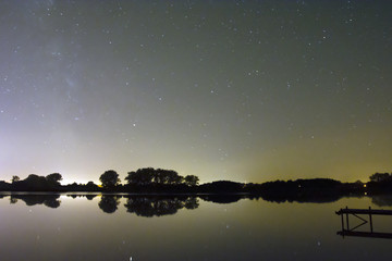Night sky view with stars on the lake