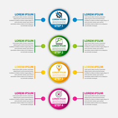 Modern vector illustration 3d. Template circle infographics with four elements and round chart. Designed for business, presentations, web design, diagrams with 4 steps, options, parts or processes