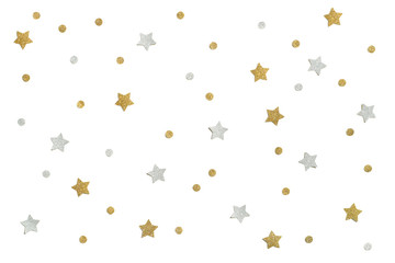 Gold and silver glitter star paper cut on white background - isolated