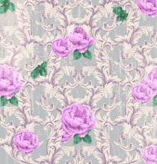 Baroque pattern with beautiful roses Vector. Handmade luxury ornaments