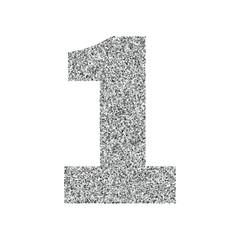 Silver glitter alphabet number 1