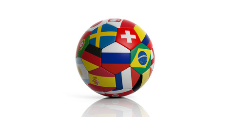 Football soccer ball with world flags isolated on white background. 3d illustration