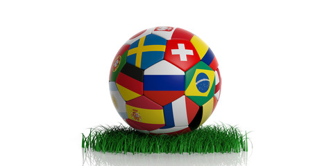Football soccer ball with world flags on grass, isolated on white background. 3d illustration