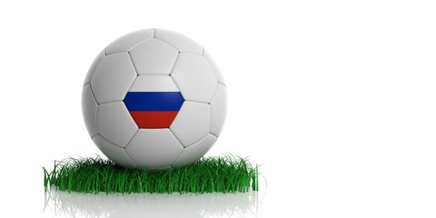 Russia soccer football ball on grass isolated on white background. 3d illustration