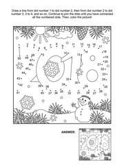 New Year or Christmas themed connect the dots picture puzzle and coloring page - year 2018 heading. Answer included.