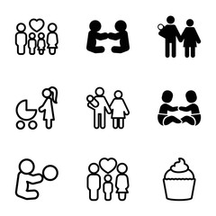 Mom icons. set of 9 editable filled and outline mom icons