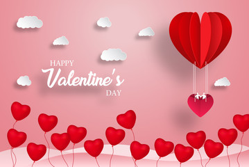 Valentine's day abstract background with red paper hearts. Valentines day with paper cut red heart shape balloon flying and hearts decorations in white background. Vector illustration.