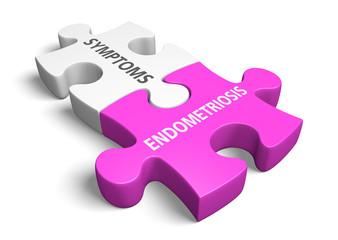 Endometriosis signs and symptoms concept, 3D rendering