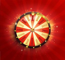 Symbol of spinning fortune wheel in realistic style. Shiny lucky roulette for your design on red glowing sunburst background. Vector illustration.
