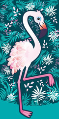 Flamingo with tropical palm leaves. Perfect for wallpapers, web page backgrounds, surface textures, textiles.