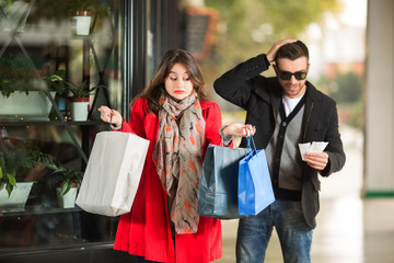 Young couple having an argue while shopping
