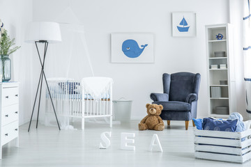 Cozy white and blue nursery