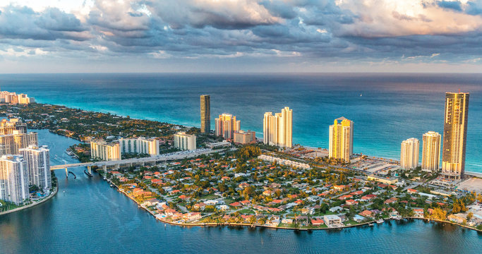 Aerial view from helicopter of Miami Beach at sunset