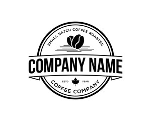 Classic Circle Black Coffee Bean and Maple Leaf for Restaurant Symbol Vintage Logo Vector