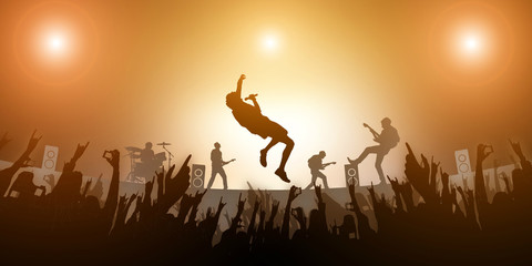 Concert Crowd Party and Music Band Festival Abstract Amber light on Background