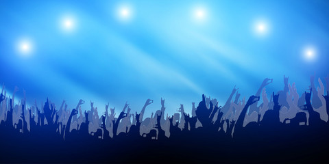 Concert Crowd Party Hand and Music Festival Abstract on Light Blue Background