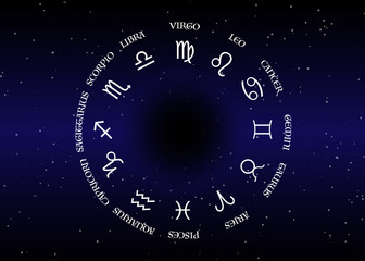 astrology and horoscope - signs of zodiac over night sky and stars dark night sky background, vector illustration