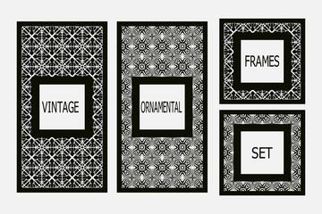 Set of vintage  frames border with beautiful filigree ornamental frame, decorative ornate vintage borders, retro element. Classic ornamental set of  vintage frames templates, borders and elements