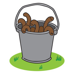 A bucket full of wriggling cartoon earthworms is resting on the ground