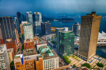 Aerial view of Vancouver Downtown skyline from city rooftop, British Columbia, Canada