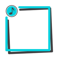 Text box with button of music icon. Blue and dark gray frame for your text. Vector illustration