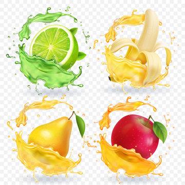 Banana, apple, lime, pear juice Realistic fruits splashes, vector icon set