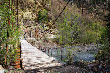 Georgia. Caucasus. Wooden suspension bridge