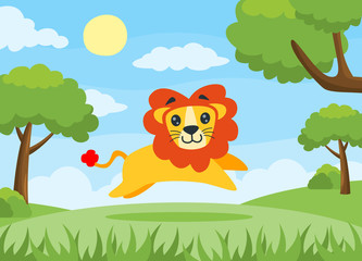 Vector illustration of a Lion running happily. Cartoon lion, perfect for children book