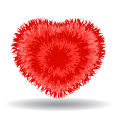 Big soft red heart. Fur effect, cute and cozy isolated vector illustration on white background.