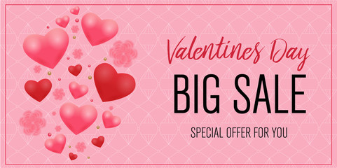 web banner for valentine's day sale. beautiful background with hearts and flowers