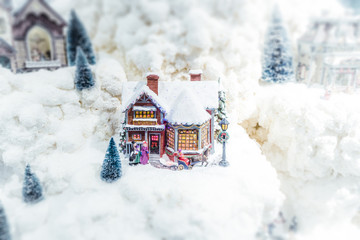 Christmas model landscape with miniature objects