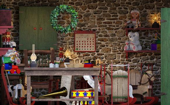 3D Rendering Santas Workshop