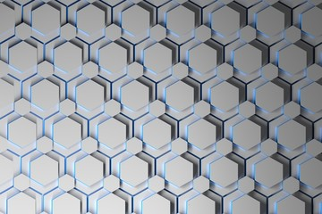 Abstract background with layers of white repeating hexagons with blue edges. 3d illustration.