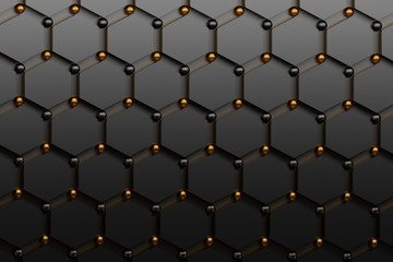 Abstract futuristic background with black hexagons and shiny golden and black spheres. Concept benzene molecules and carbon atoms. Geometric scientific backdrop. 3d illustration.