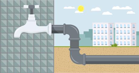 Wasserhahn mit Wasserleitung Flat Design